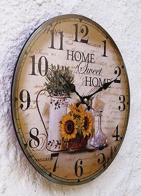 Uhr Wanduhr Küche Küchenuhr Vintage grün gelb braun modern Design ...