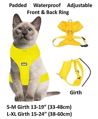 Cat Harness Pink Black Blue Yellow Red Waterproof Padded Adjustable  S M L EX L 7