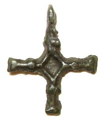 Ancient Rare Vikings Age bronze cast cross pendant. Kievan Rus 2