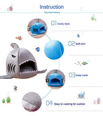 Couchage Corbeille Chat Chien Panier Lit Niche Chiot Forme Requin en Coton 2