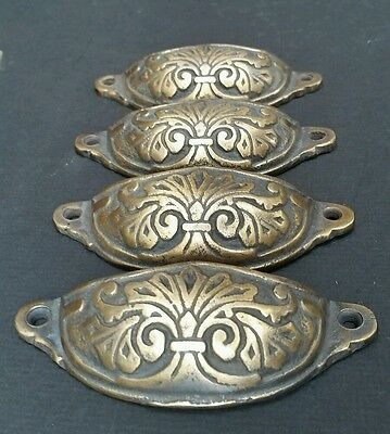 "4  Apothecary Drawer Cup Bin Pull Handles 4 1/8"" Antique Vict. Style Brass #A1 6"