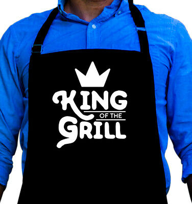 King of the Grill Barbecue Apron Funny Gift for Guys Fits Large Men