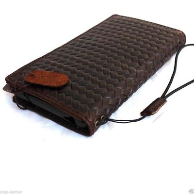 genuine real leather Case for apple iphone 6s plus book wallet slim cover brown 3