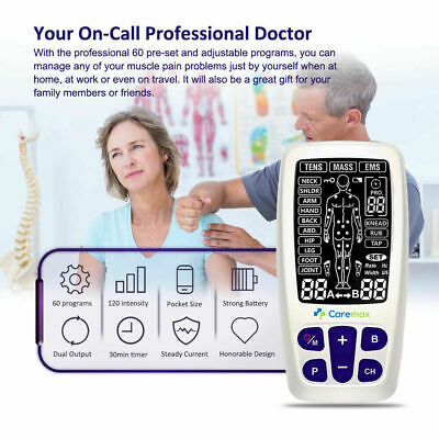 TENS Machine EMS 3 in 1 Combo Unit Pain Relief Massager LED w/Extra Pad Bundles 3