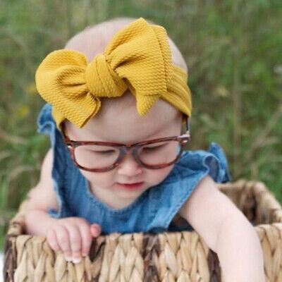 Baby Girls Large Bow Turban Headband Hair band Head Wrap Cute Kids Plain Stretch 2