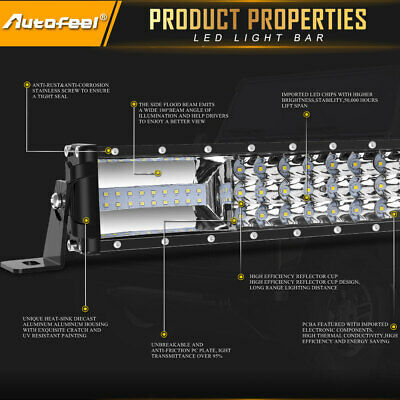22Inch Tri-Rows 90PCS LED Light Bar Spot Flood Combo Work Driving Offroad Truck 4