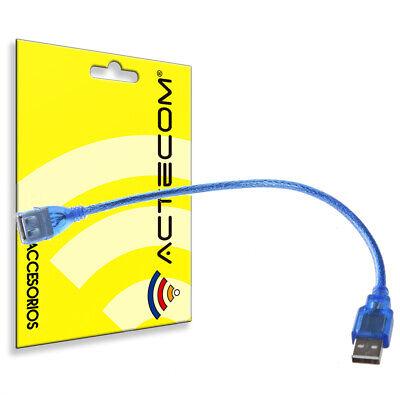 ACTECOM® Cable Alargador Extension USB 2.0 Tipo A Hembra a Macho AF-AM 25cm Azul 2