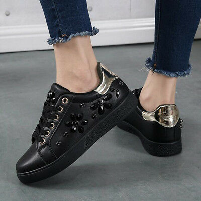 New Women Spring Autumn Rhinestone Lace UP Sport Low Top Shoes Casual Sneakers 10