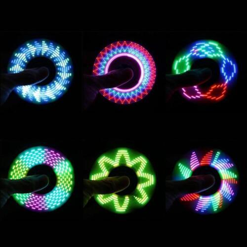 LED Flash Letters Light Crystal Fidget Hand Spinner Finger Toy Focus Gyro Gift 10