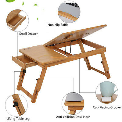 Portable Bamboo Laptop Notebook Desk Table Cooling Mouse Holder Tray Sofa Bed AU 2