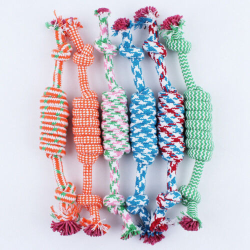 NEW Puppy Dog Pet Chew Toy Cotton Braided Bone Tug Play Game Rope Knot Toy 3
