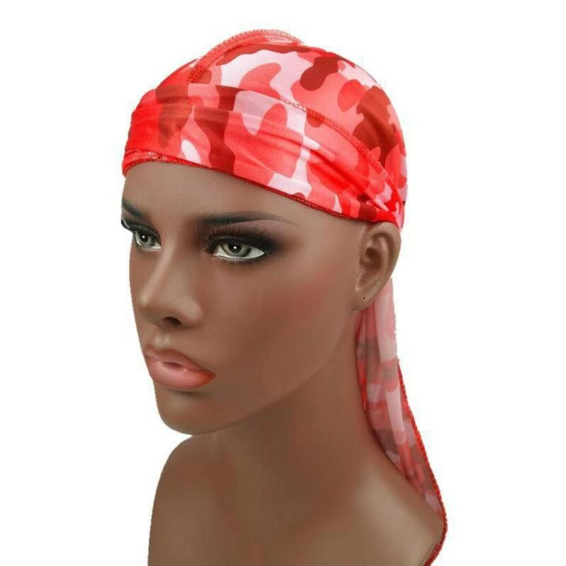 Mens Womens Camouflage Headwear Pirate Cap Hat Long Tail Bandana Turban Durag 10