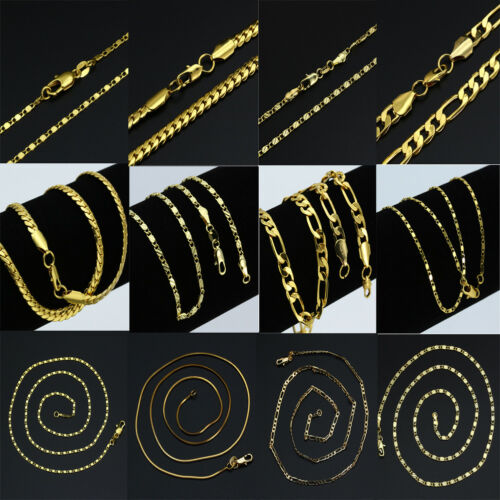 16-30'' 18K Gold Plated Curb Belcher Trace Figaro Chain Necklace For Women Mens 3
