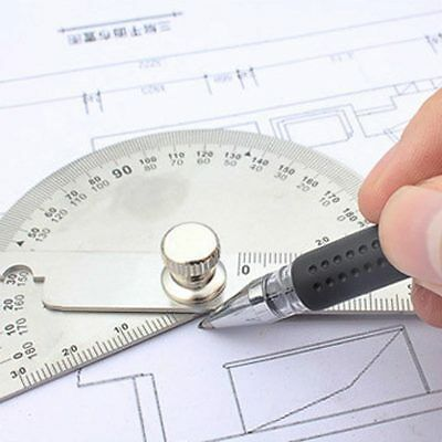 Stainless Steel Round Head Dual Arm 180 ° Protractor Angle Finder Rotary Ruler 3