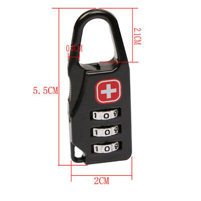 Alloy 3 Dial Safe Number Code Padlock Combination Travel Suitcase Luggage Locks* 4