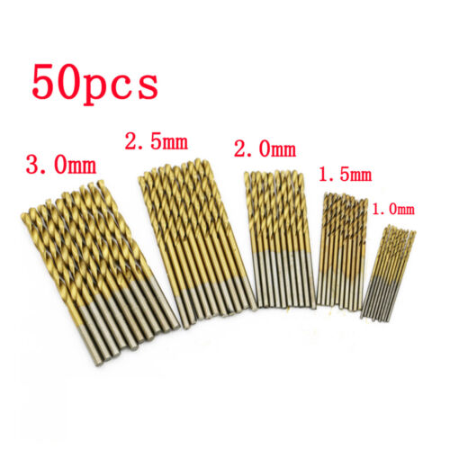 50x HSS Cobalt Foret Fraise 1.0mm-3.0mm Percage Perceuse Forage Drill Bit Kit NF 2