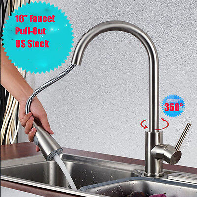 1 Of 9FREE Shipping Brushed Nickel Kitchen Faucet Pull Out Sprayer Single  Hole Swivel Sink Mixer Tap