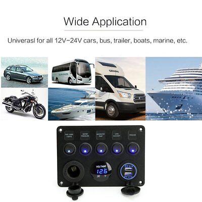 12V 24V 5 Gang Car ON-OFF Toggle Switch Panel Dual USB Socket Charger Voltmeter 6