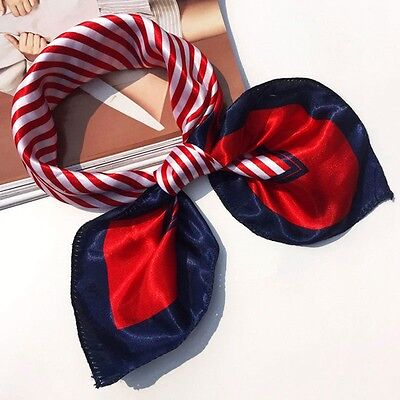 Small Vintage Head Neck Hair Tie Band Women Ladies Square Silk Feel Satin Scarf 9