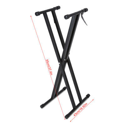Portable Heavy Duty X Frame Folding Adjust Heights Keyboard Stand Piano + Straps 5