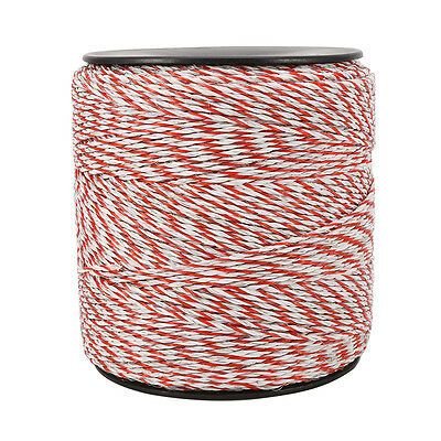1000m Roll Polywire Electric Fence Fencing Stainless Steel Poly Wire Insulator 10
