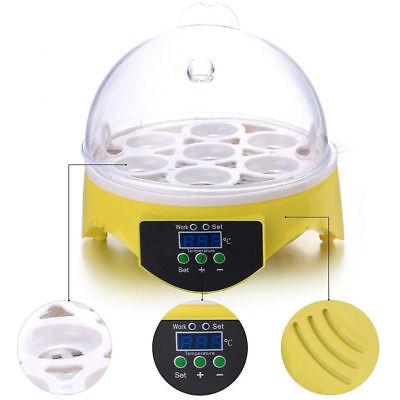 Automatic Mini Incubator 7 Egg Poultry Hatcher Digital Bird Temperature Control 7