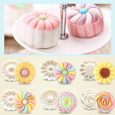 6 Style Stamps Round Flower Moon Cake Mold Mould White Set Mooncake Decor 50g 8