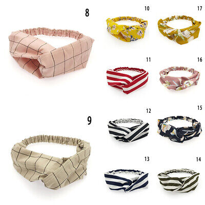 Women Girl Turban Stripe Elastic Head Wrap Headband Twisted Knotted Spa Hairband 3