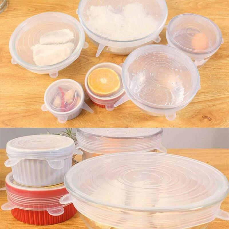 6 X Super Stretch Lids Silicone Covers Universal Food Covers Lids Easy Fits 6