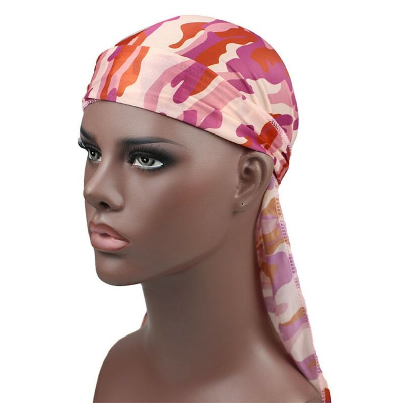 Mens Womens Camouflage Headwear Pirate Cap Hat Long Tail Bandana Turban Durag 9