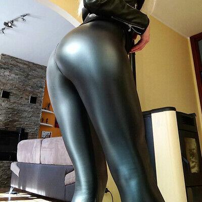 Damen Wetlook Leggings Leggins Fleece Thermo Hohe Taille Pants Lang Hosen Sexy 7