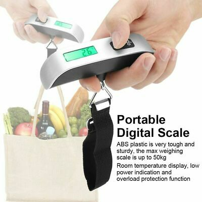 50kg/10g Portable Travel LCD Digital Hanging Luggage Scale Electronic Weight US 6