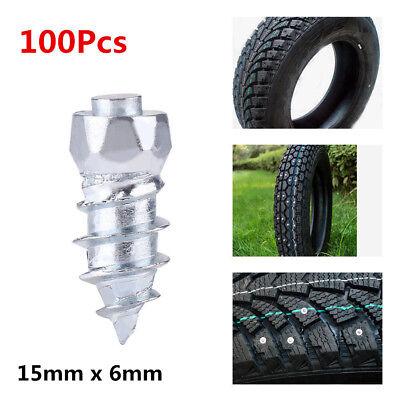 100x 15mm Tire Stud Screws Wheel Snow Chain Antiskid Tire Ice Nail Spikes Studs 6