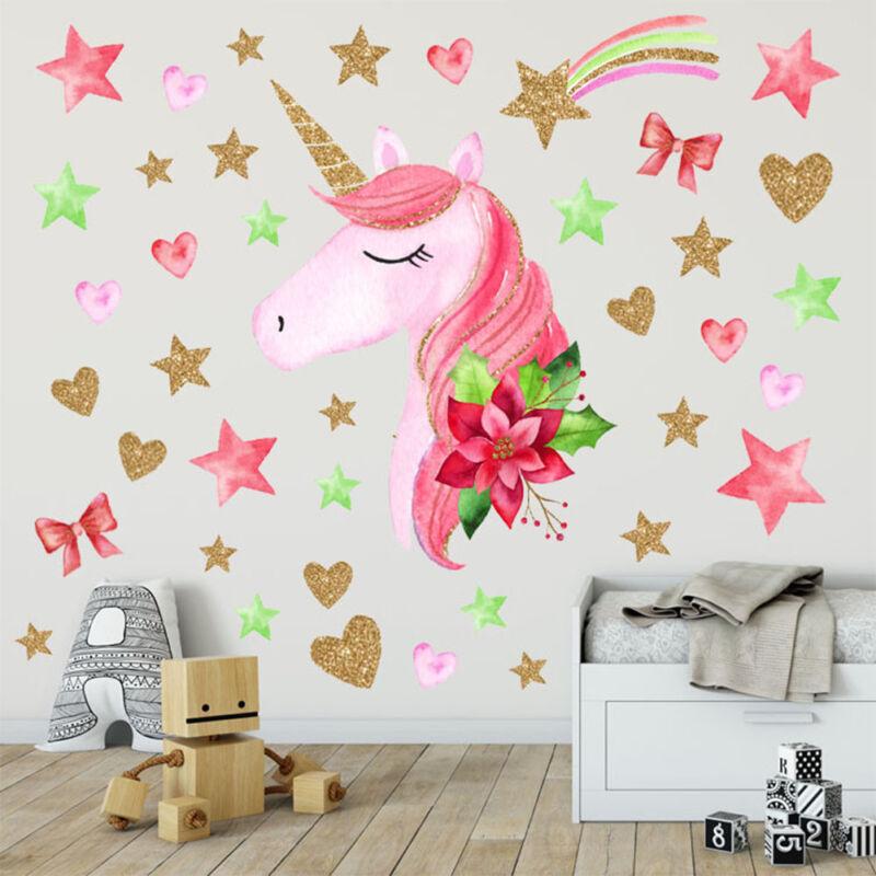 Unicorn Hearts Stars Wall Art Stickers Girls Bedroom Decals 64 Hearts /& Stars AK