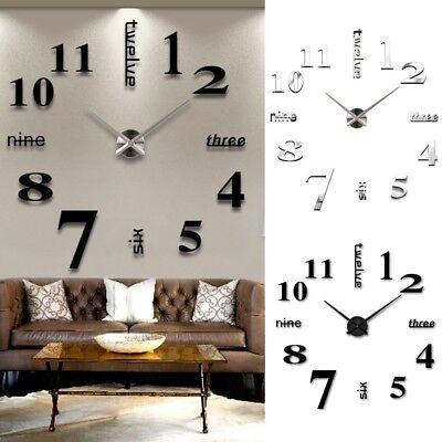 Large DIY 3D Frameless Number Wall Clock Mirror Sticker Home Office Room Decor 7