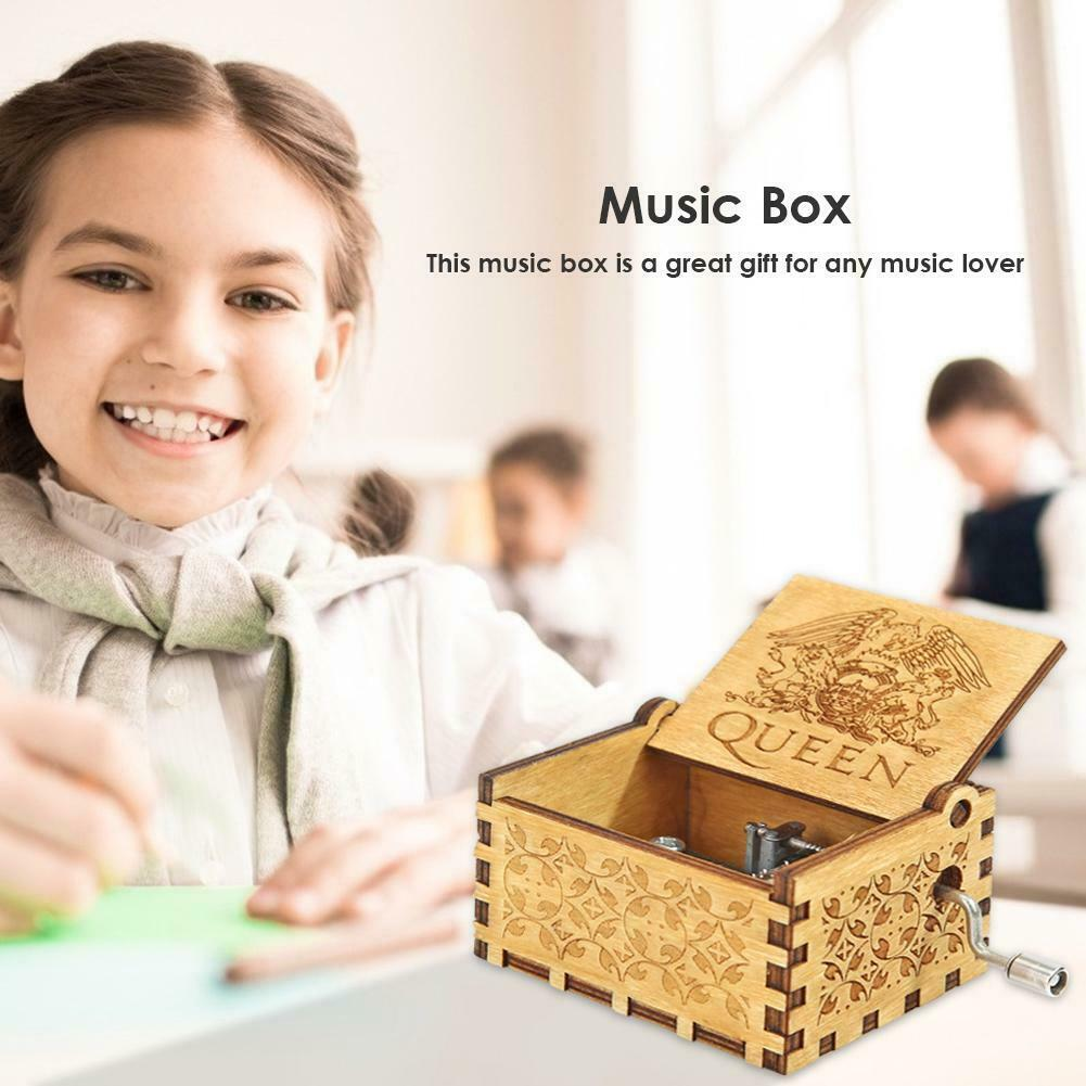 Retro Hand Cranked Wood Music Box Party Xmas Gift Household Decor Ornament 7