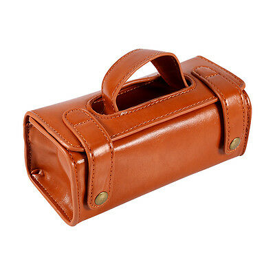 0804c20b3a ... New Men s Brown Leather Travel Sport Pouch Case Shaving Brush Razor  Toiletry Bag 7