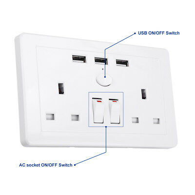 Double Wall Plug Socket 2 Gang 13A with 3 USB Ports Screwless Slim Flat Plate 8