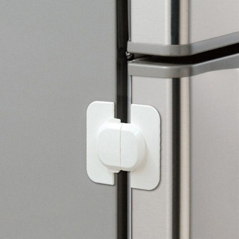 New Baby Kids Care Safety Security Cabinet Lock Fridge Door Cabinet Locks White 2