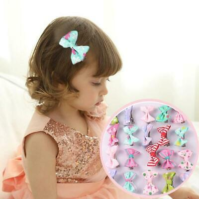 10Pcs Kids Baby Girl's Bow Mini Hairpins Ribbon Hair Bow Latch Clips Hair Clip 3
