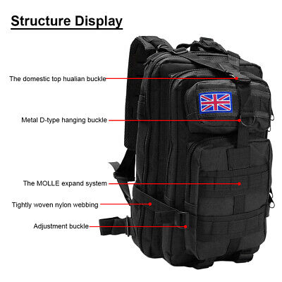 Military Tactical Army Backpack Rucksack Camping Hiking Trekking Outdoor Bag 30L 4