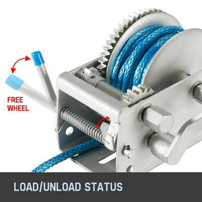 3TONS 3-SPEED RECOVERY Hand Winch 10M x 7MM Dyneema Synthetic Rope Boat 4WD  4X4