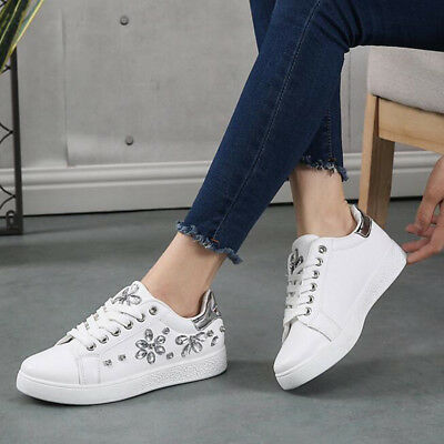 New Women Spring Autumn Rhinestone Lace UP Sport Low Top Shoes Casual Sneakers 11