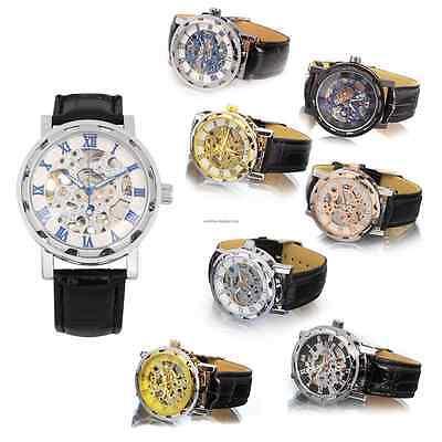 Men's Skeleton Mechanical Wrist Watch Steampunk Luxury Black Leather Stainless 9