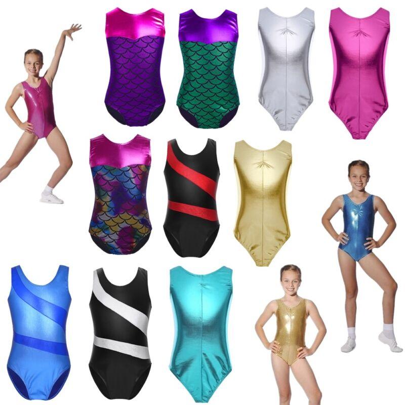 Shiny Kids Girls Rainbow Ballet Dance Bodysuit Gymnastics Leotards Dancewear 2