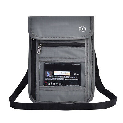 Grey RFID Blocking Neck Stash Pouch Passport Holder Security Travel Wallet BG 2