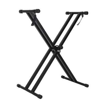 Portable Heavy Duty X Frame Folding Adjust Heights Keyboard Stand Piano + Straps 9