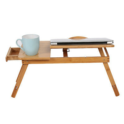 Portable Bamboo Laptop Notebook Desk Table Cooling Mouse Holder Tray Sofa Bed AU 7