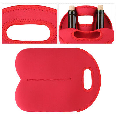 Red Two Bottle Insulated WINE TOTE Bag NEOPRENE Carrier Cooler Waterproof Bag IS 4