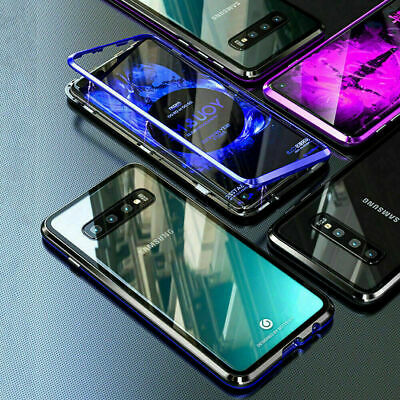 For Samsung S10/S10Plus/S9/S8+ Note8/9 Magnetic case Metal Tempered Glass Cover 2